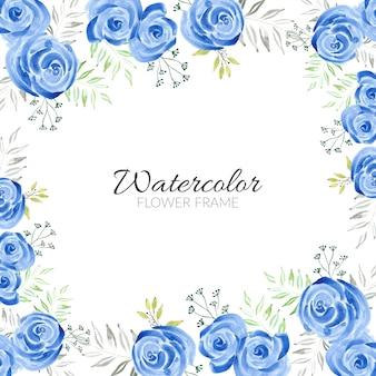 Piękna niebieska rama akwarela kwiat róży