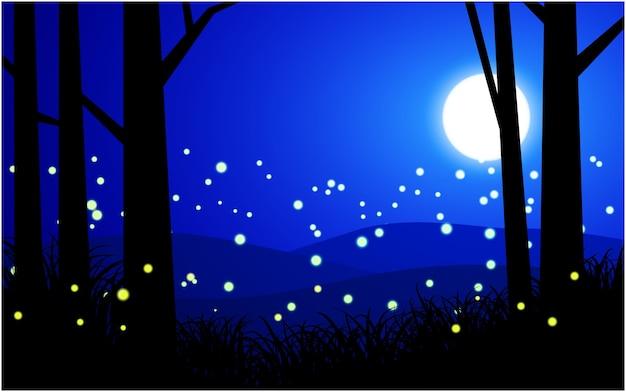 Piękna nocna scena z świetlikami