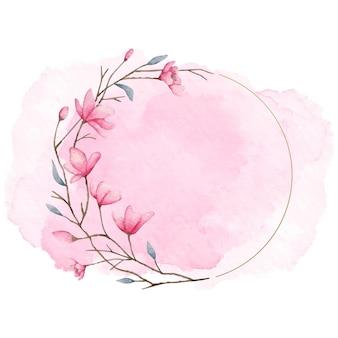 Piękna nowoczesna kwiecista ramka z różowym pluskiem