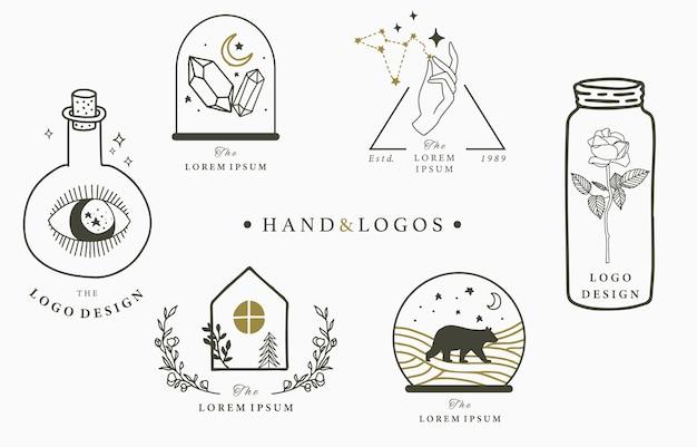 Piękna okultystyczna kolekcja logo z magicznymi elementami
