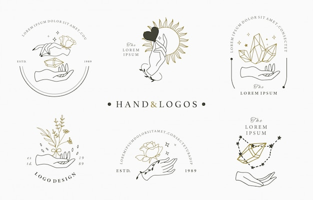 Piękna okultystyczna kolekcja logo z ręką, geometryczną, kryształową, księżycową, różaną. ilustracja ikony, logo, naklejki, do druku i tatuażu