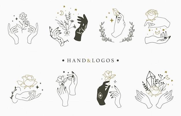 Piękna okultystyczna kolekcja logo z ręką, geometryczną, kryształową, księżycową, różaną.
