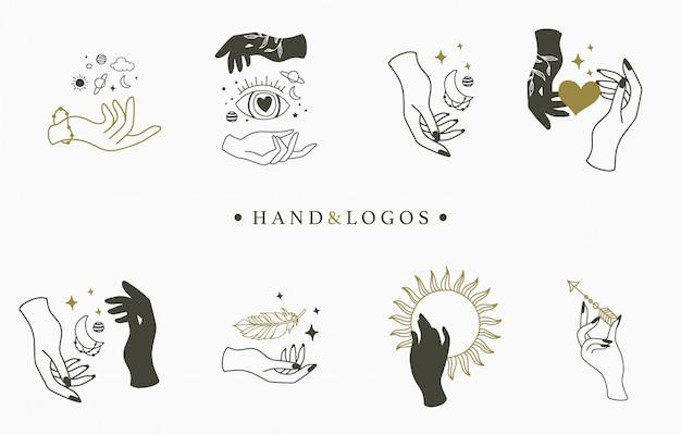 Piękna okultystyczna kolekcja logo z ręką, kryształem, księżycem, okiem i gwiazdą.