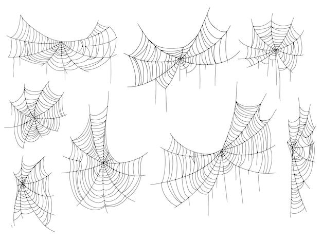 Piękna pajęczyna. halloweenowy wystrój. ozdoba na święta. ilustracja wektorowa na białym tle.