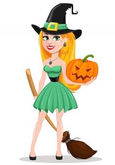 Piękna pani czarownica w kapeluszu pielgrzyma