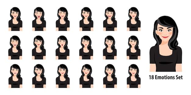 Piękna pani w czarnej sukni z różnymi wyrazami twarzy na białym tle w stylu postaci z kreskówek