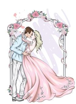 Piękna panna młoda i pan młody w strojach ślubnych