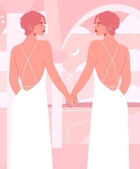 Piękna para lesbijek w białych sukniach ślubnych