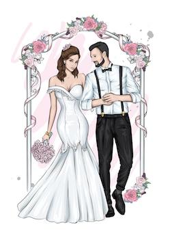 Piękna para ślubna panna młoda i pan młody w pięknych ubraniach
