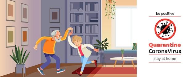 Piękna para starszych tańczy i uśmiecha się podczas kryzysu koronawirusowego. covid-19 lub koronawirus. kwarantanna. koncepcja zostań w domu. ilustracja kreskówka