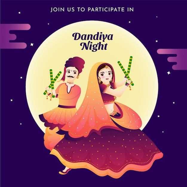 Piękna para tańczy z kijem dandiya taniec na obchodach festiwalu w indiach happy navratri