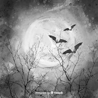 Piękna pełnia nocy z nietoperzami i gałęziami