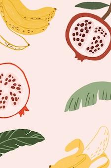Piękna płaska ilustracja owoców