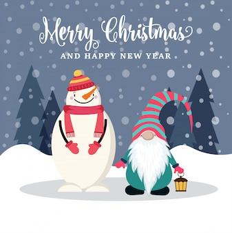 Piękna płaska kartka bożonarodzeniowa z bałwanem i gnomem