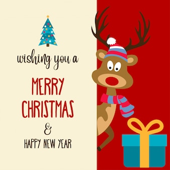 Piękna płaska kartka bożonarodzeniowa z reniferem