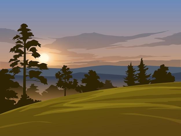 Piękna poranna scena z sylwetka łąka i drzewa