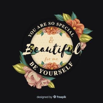 Piękna pozytywna wiadomość z kwiatami