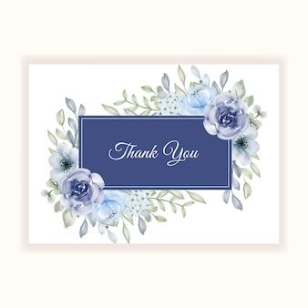 Piękna rama kwiatowa niebieska na kartę z podziękowaniami