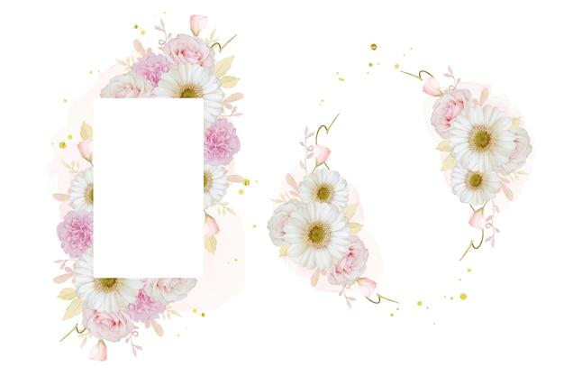 Piękna rama kwiatowa z akwarelą różową różą i białym kwiatem gerbery