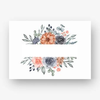 Piękna rama kwiatowa z akwarelowym kwiatem granatowym i brzoskwinią