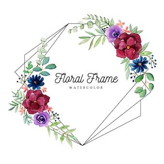 Piękna rama kwiatowy akwarela
