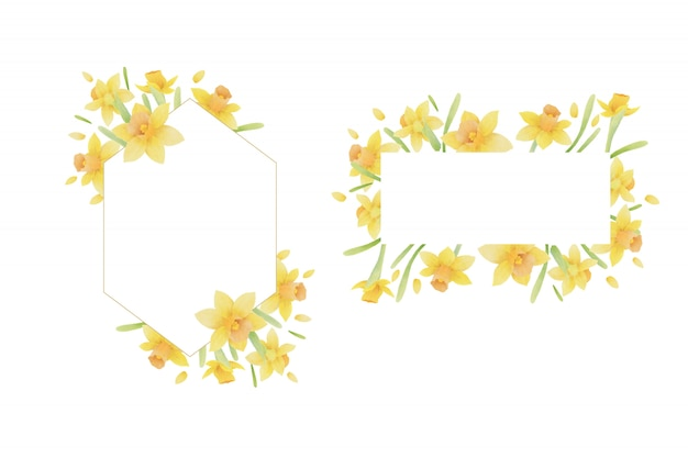 Piękna rama kwiatowy kwiaty akwarela żonkil