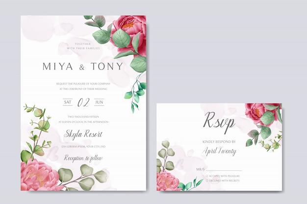 Piękna rama kwiatowy na zaproszenie na ślub
