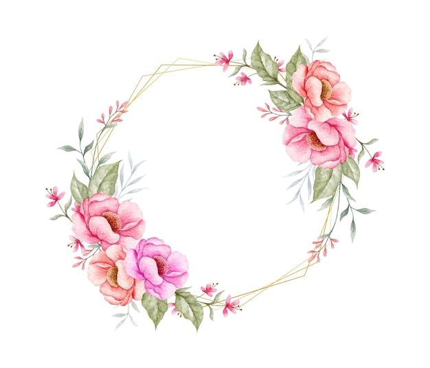 Piękna rama kwiatowy wiosna akwarela
