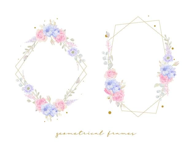 Piękna rama kwiatowy z akwarela kwiaty