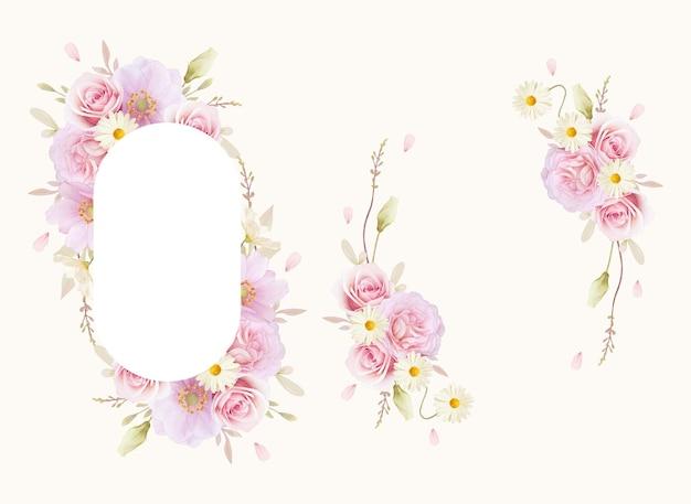 Piękna rama kwiatowy z akwarela róże i kwiat anemony