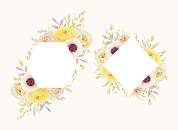 Piękna rama kwiatowy z akwarela róże jaskier i kwiaty anemonowe