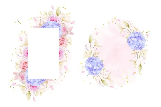 Piękna rama kwiatowy z akwarelowymi różami i niebieskim kwiatem hortensji
