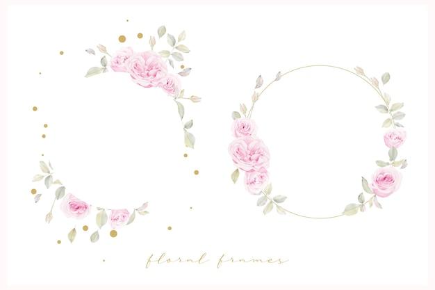 Piękna rama kwiatowy z kwiatem róż akwarela