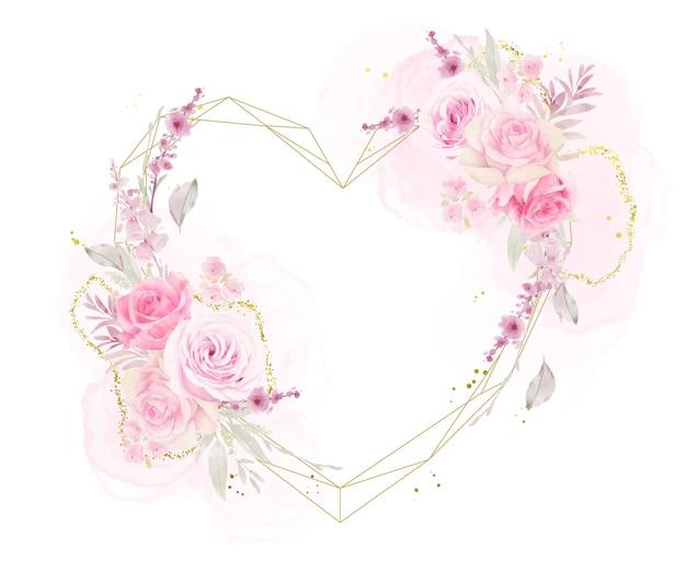 Piękna rama kwiatowy z róż akwarela
