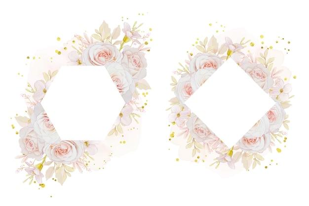 Piękna rama kwiatowy z różami akwarelowymi