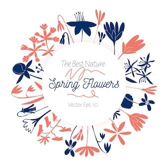 Piękna rama z fantazyjnymi kwiatami w stylu skandynawskim