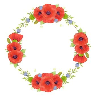 Piękna rama z kwiatowymi czerwonymi kwiatami maku