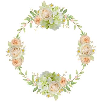 Piękna rama z kwiatowymi różami i hortensją