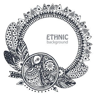 Piękna rama z ręcznie rysowane elementy etniczne, ptaki, strzały, pióra.