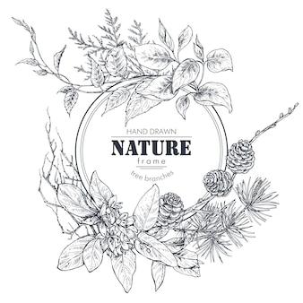 Piękna rama z ręcznie rysowane gałęzie kwiaty i rośliny ilustracja wektorowa monochromatyczna