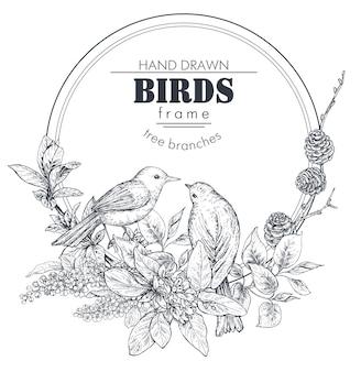 Piękna rama z ręcznie rysowanymi ptakami rozgałęzia kwiaty i rośliny