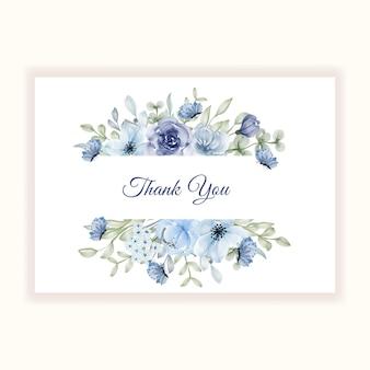 Piękna ramka kwiatowa na kartę z podziękowaniami