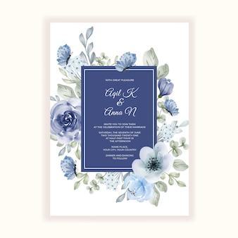 Piękna ramka kwiatowa na zaproszenie na ślub