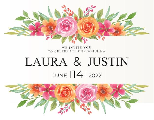 Piękna ramka kwiatowa z akwarelą na zaproszenie na ślub