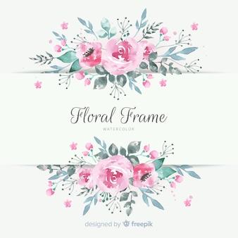 Piękna ramka kwiatowy w stylu przypominającym akwarele