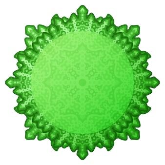 Piękna ramka mandali z zielonym okrągłym kolorem