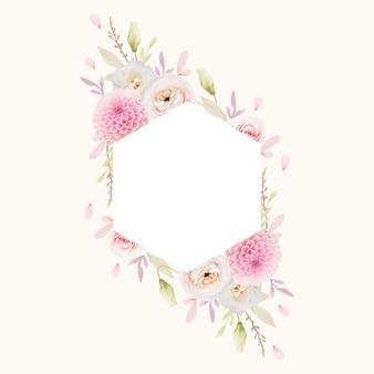 Piękna ramka w kwiaty z akwarela różowe róże jaskier i dalia