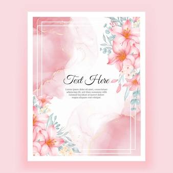 Piękna ramka w kwiaty z eleganckim kwiatem w kolorze niebieskim piękna ramka w kwiaty z eleganckim kwiatem lilii różowej