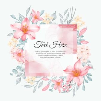 Piękna ramka w kwiaty z eleganckim różem lilii