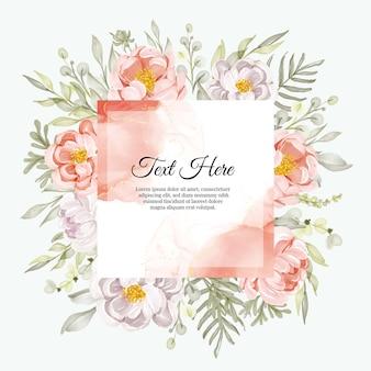 Piękna ramka w kwiaty z eleganckimi piwoniami brzoskwiniowo-białymi